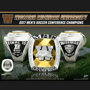 Western Michigan University Men's Soccer 2017 MAC Championship Ring