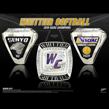 Whittier College Women's Softball 2019 SCIAC Championship Ring