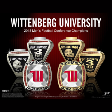Wittenberg University Men's Football 2018 NCAC Championship Ring