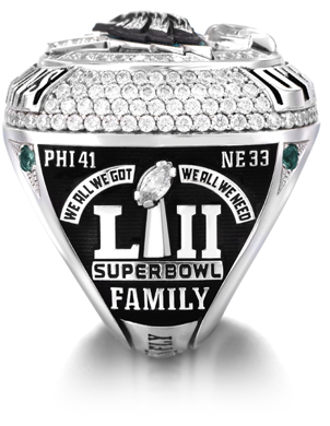 The Philadelphia Eagles Super Bowl LII Championship Ring - right side view