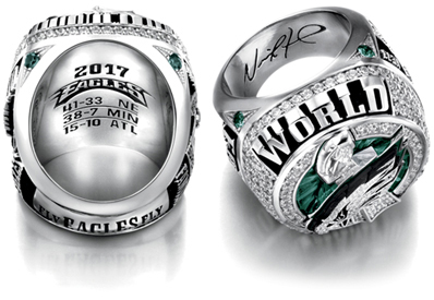 The Philadelphia Eagles Super Bowl LII Championship Ring - Interior view