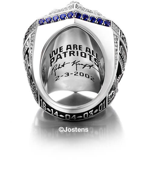 New England Patriots Championship Ring interior side view