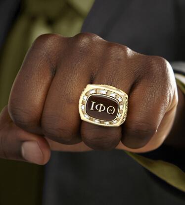 Student Wearing Iota Phi Theta Ring