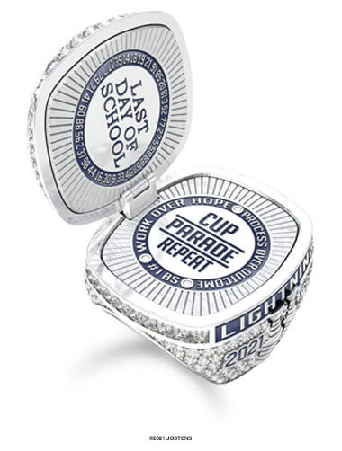 Tampa Bay Lightning Championship Ring front open view
